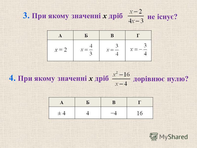 АБВГ 4. При якому значенні x дріб дорівнює нулю? 3. При якому значенні x дріб не існує? x = 2 АБВГ ± 44416