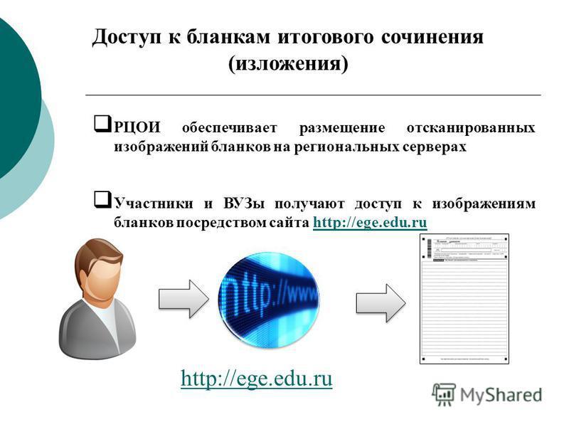 16 РЦОИ обеспечивает размещение отсканированных изображений бланков на региональных серверах Участники и ВУЗы получают доступ к изображениям бланков посредством сайта http://ege.edu.ruhttp://ege.edu.ru Доступ к бланкам итогового сочинения (изложения)