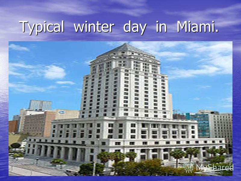 Typical winter day in Miami. Typical winter day in Miami.