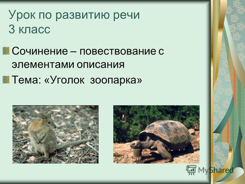 Урок по развитию речи 3 класс Сочинение – повествование с элементами описания Тема: «Уголок зоопарка»