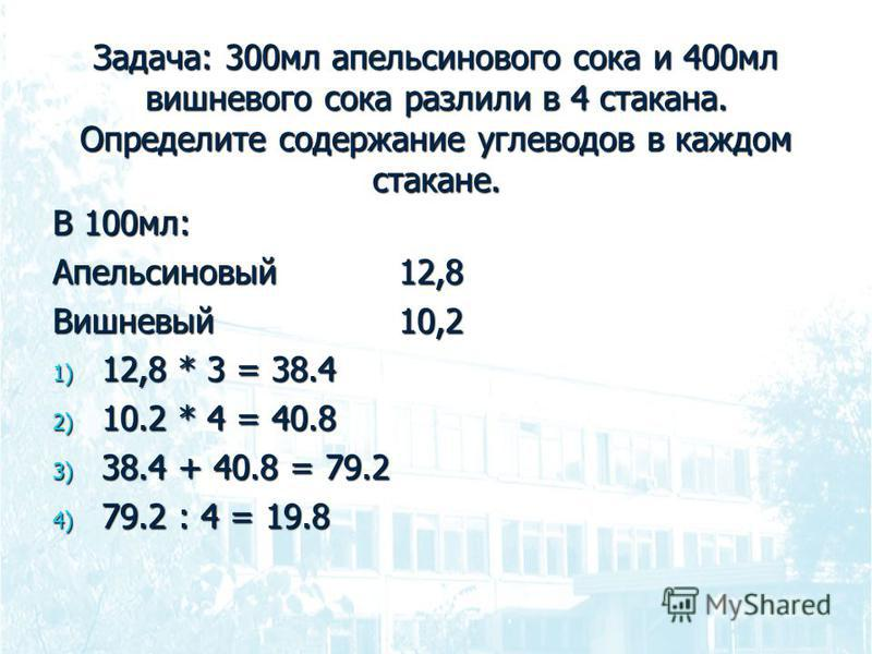 Задача: 300 мл апельсинового сока и 400 мл вишневого сока разлили в 4 стакана. Определите содержание углеводов в каждом стакане. В 100 мл: Апельсиновый 12,8 Вишневый 10,2 1) 12,8 * 3 = 38.4 2) 10.2 * 4 = 40.8 3) 38.4 + 40.8 = 79.2 4) 79.2 : 4 = 19.8