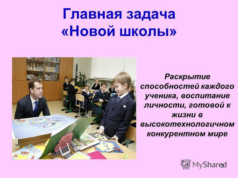 3 Главная задача «Новой школы» Раскрытие способностей каждого ученика, воспитание личности, готовой к жизни в высокотехнологичном конкурентном мире