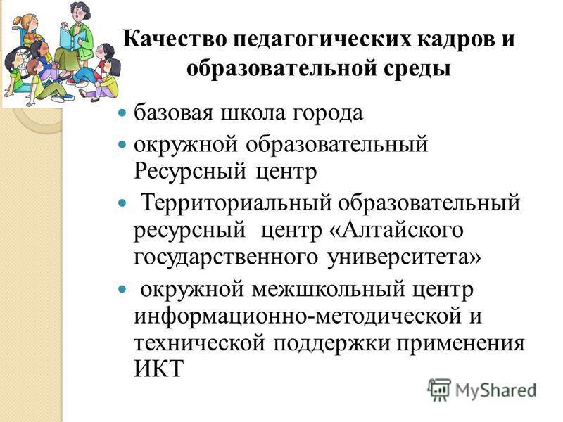 базовая школа города окружной образовательный Ресурсный центр Территориальный образовательный ресурсный центр «Алтайского государственного университета» окружной межшкольный центр информационно-методической и технической поддержки применения ИКТ Каче