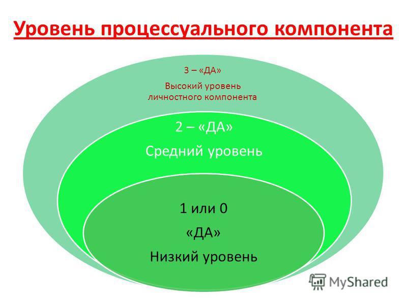 Уровень процессуального компонента 3 – «ДА» Высокий уровень личностного компонента 2 – «ДА» Средний уровень 1 или 0 «ДА» Низкий уровень