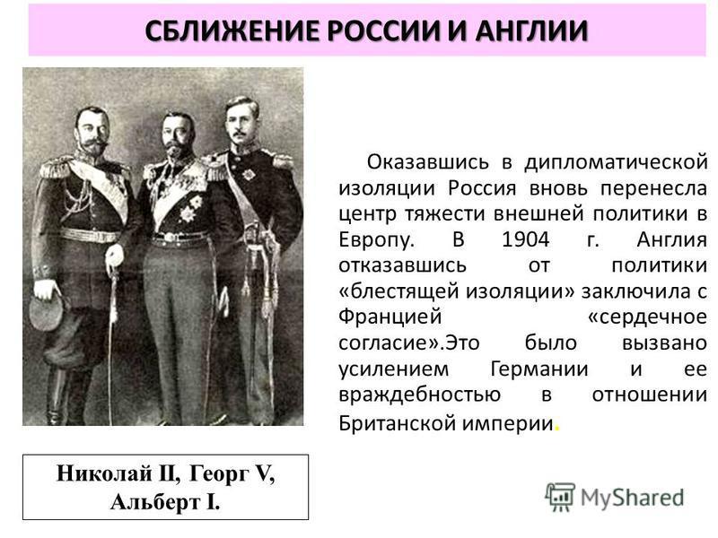 СБЛИЖЕНИЕ РОССИИ И АНГЛИИ Оказавшись в дипломатической изоляции Россия вновь перенесла центр тяжести внешней политики в Европу. В 1904 г. Англия отказавшись от политики «блестящей изоляции» заключила с Францией «сердечное согласие».Это было вызвано у