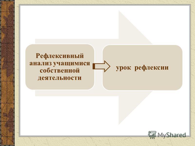Рефлексивный анализ учащимися собственной деятельности урок рефлексии