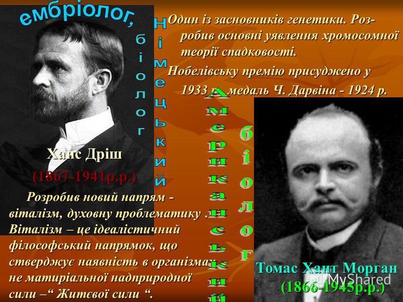 Один із засновників генетики. Роз- робив основні уявлення хромосомної теорії спадковості. Один із засновників генетики. Роз- робив основні уявлення хромосомної теорії спадковості. Нобелівську премію присуджено у Нобелівську премію присуджено у 1933 р