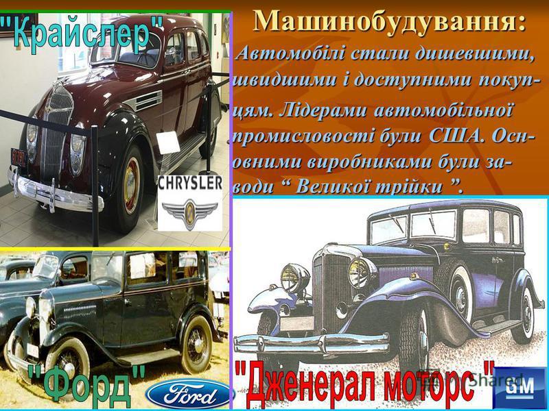 Машинобудування: Машинобудування: Автомобілі стали дишевшими, швидшими і доступними покуп- Автомобілі стали дишевшими, швидшими і доступними покуп- цям. Лідерами автомобільної промисловості були США. Осн- овними виробниками були за- води Великої трій