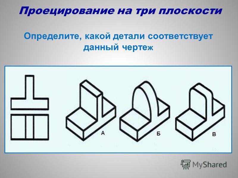 Определите, какой детали соответствует данный черте ж Проецирование на три плоскости