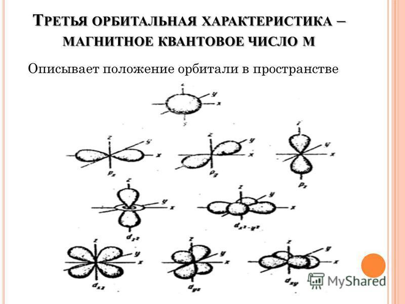 Т РЕТЬЯ ОРБИТАЛЬНАЯ ХАРАКТЕРИСТИКА – МАГНИТНОЕ КВАНТОВОЕ ЧИСЛО M Описывает положение орбитали в пространстве