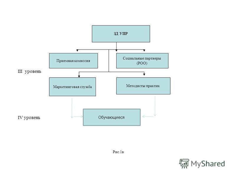 III уровень IV уровень Рис.1 в ЗД УПР Приемная комиссия Социальные партнеры (РОО) Маркетинговая служба Методисты практик Обучающиеся