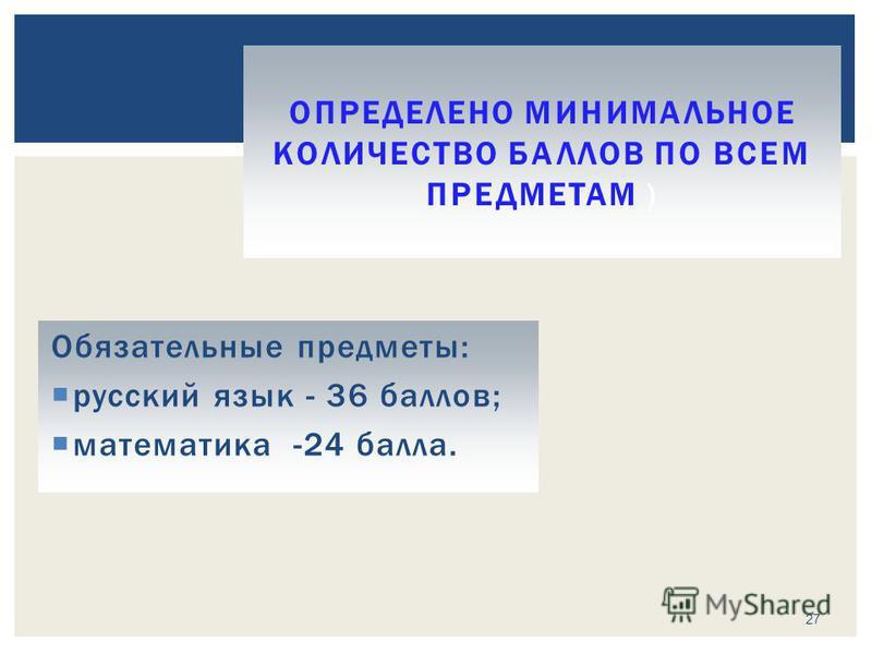 Обязательные предметы: русский язык - 36 баллов; математика -24 балла. ОПРЕДЕЛЕНО МИНИМАЛЬНОЕ КОЛИЧЕСТВО БАЛЛОВ ПО ВСЕМ ПРЕДМЕТАМ ) 27