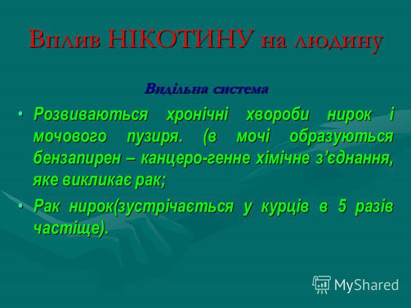 Вплив НІКОТИНУ на людину Видільна система Розвиваються хронічні хвороби нирок і мочового пузиря. (в мочі образуються бензапирен – канцеро-генне хімічне зєднання, яке викликає рак; Розвиваються хронічні хвороби нирок і мочового пузиря. (в мочі образую