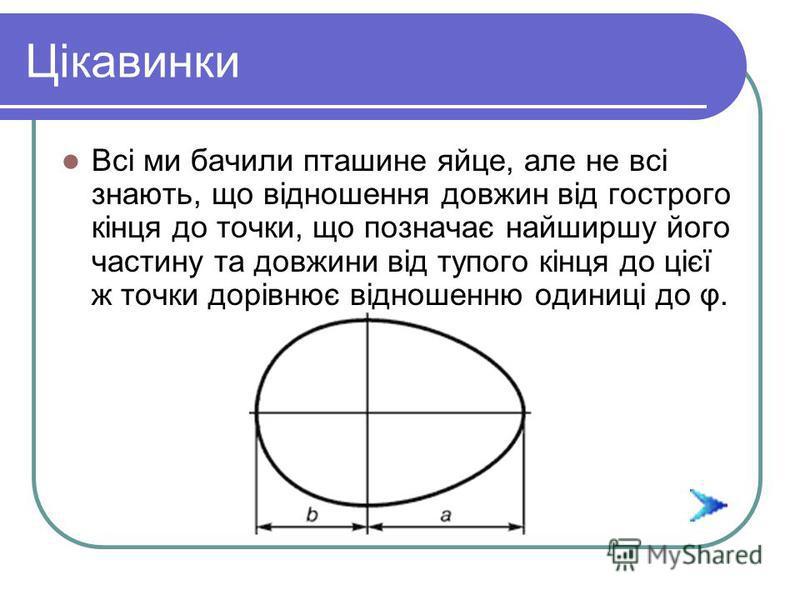 Цікавинки Наприклад, поштові листівки виготовляють у вигляді прямокутника, відношення сторін у якому дорівнює цьому числу. Якщо від цього прямокутника відрізати найбільший можливий квадрат, то отримаємо прямокутник, подібний даному. Процес цей є неск