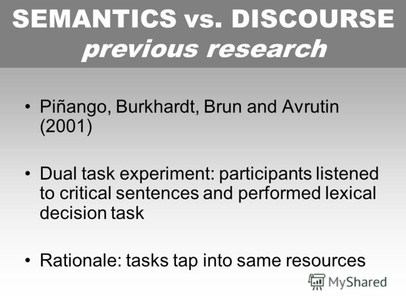 SEMANTICS vs. DISCOURSE previous research Piñango, Burkhardt, Brun and Avrutin (2001) Dual task experiment: participants listened to critical sentences and performed lexical decision task Rationale: tasks tap into same resources SEMANTICS vs. DISCOUR