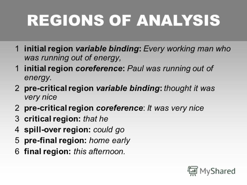 REGIONS OF ANALYSIS 1initial region variable binding: Every working man who was running out of energy, 1initial region coreference: Paul was running out of energy. 2pre-critical region variable binding: thought it was very nice 2pre-critical region c