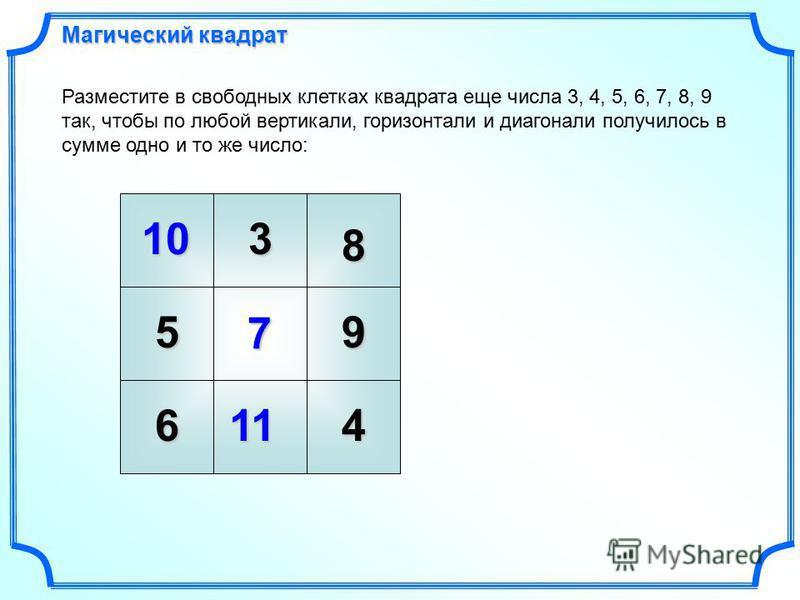 10 7 Разместите в свободных клетках квадрата еще числа 3, 4, 5, 6, 7, 8, 9 так, чтобы по любой вертикали, горизонтали и диагонали получилось в сумме одно и то же число: 11 Магический квадрат 3 8 59 64
