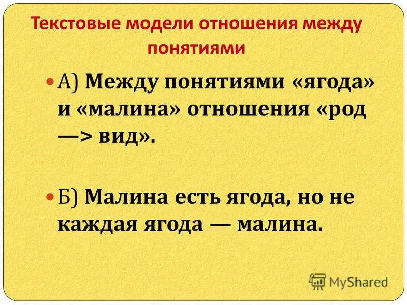 Текстовые модели отношения между понятиями А ) Между понятиями « ягода » и « малина » отношения « род > вид ». Б ) Малина есть ягода, но не каждая ягода малина.