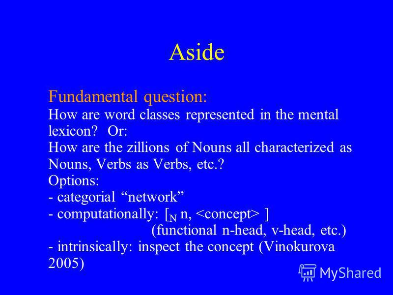 Aside Fundamental question: How are word classes represented in the mental lexicon? Or: How are the zillions of Nouns all characterized as Nouns, Verbs as Verbs, etc.? Options: - categorial network - computationally: [ N n, ] (functional n-head, v-he