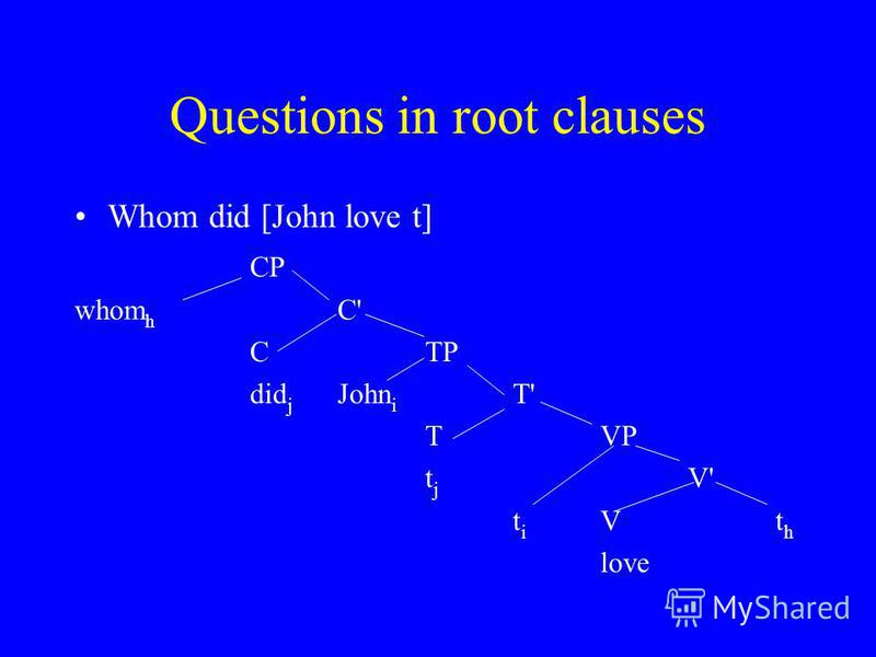 Questions in root clauses Whom did [John love t] CP whom h C' CTP did j John i T' TVP t j V' t i Vt h love
