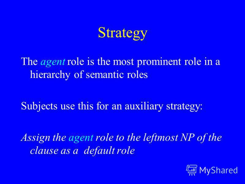Strategy The agent role is the most prominent role in a hierarchy of semantic roles Subjects use this for an auxiliary strategy: Assign the agent role to the leftmost NP of the clause as a default role