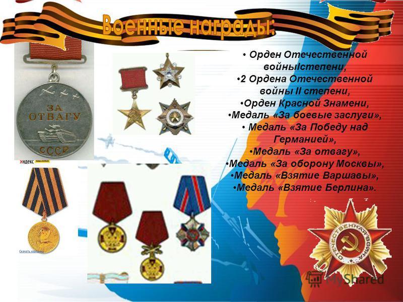 Орден Отечественной войныIстепени, 2 Ордена Отечественной войны II степени, Орден Красной Знамени, Медаль «За боевые заслуги», Медаль «За Победу над Германией», Медаль «За отвагу», Медаль «За оборону Москвы», Медаль «Взятие Варшавы», Медаль «Взятие Б