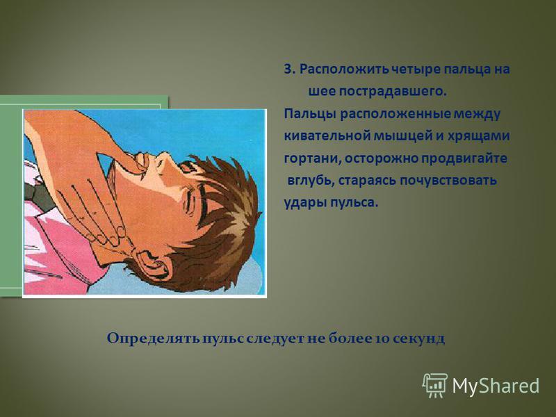 3. Расположить четыре пальца на шее пострадавшего. Пальцы расположенные между кивательной мышцей и хрящами гортани, осторожно продвигайте вглубь, стараясь почувствовать удары пульса. Определять пульс следует не более 10 секунд