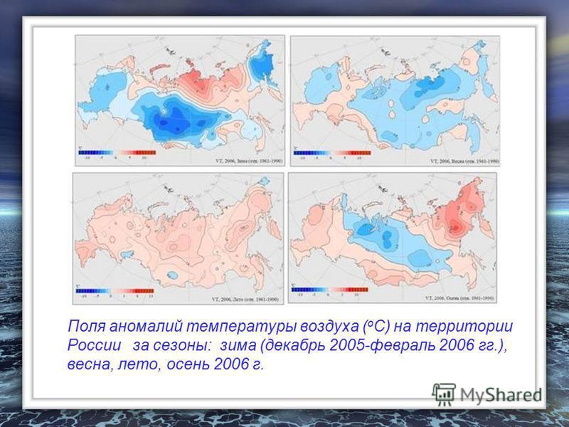 Поля аномалий температуры воздуха ( о С) на территории России за сезоны: зима (декабрь 2005-февраль 2006 гг.), весна, лето, осень 2006 г.