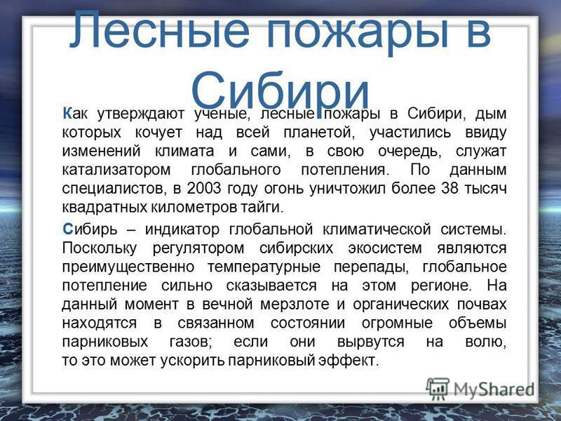 Лесные пожары в Сибири Как утверждают ученые, лесные пожары в Сибири, дым которых кочует над всей планетой, участились ввиду изменений климата и сами, в свою очередь, служат катализатором глобального потепления. По данным специалистов, в 2003 году ог