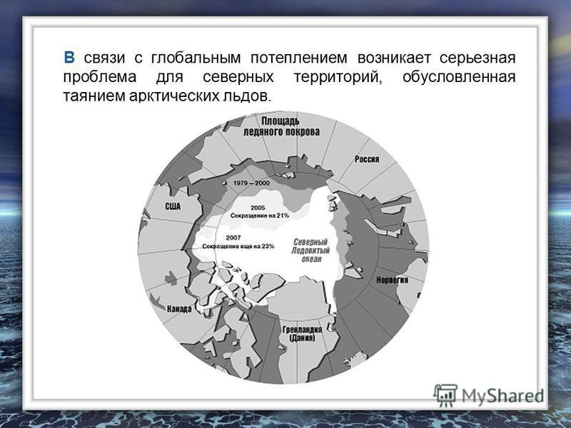 В связи с глобальным потеплением возникает серьезная проблема для северных территорий, обусловленная таянием арктических льдов.