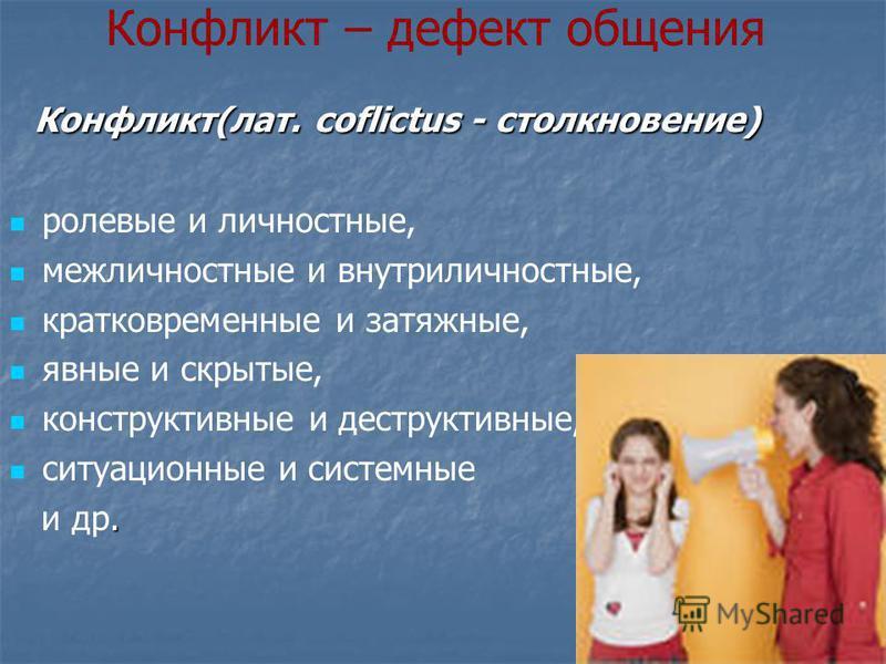 Конфликт – дефект общения Конфликт(лат. coflictus - столкновение) Конфликт(лат. coflictus - столкновение) ролевые и личностные, межличностные и внутриличностные, кратковременные и затяжные, явные и скрытые, конструктивные и деструктивные, ситуационны