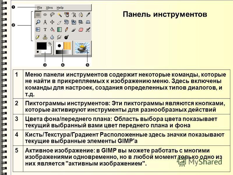 Панель инструментов 1Меню панели инструментов содержит некоторые команды, которые не найти в прикрепляемых к изображению меню. Здесь включены команды для настроек, создания определенных типов диалогов, и т.д. 2Пиктограммы инструментов: Эти пиктограмм