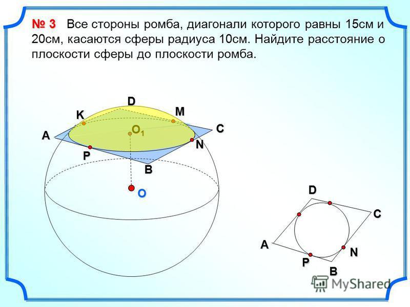 O D N B P A O1O1O1O1 C D A B 3 3 Все стороны ромба, диагонали которого равны 15 см и 20 см, касаются сферы радиуса 10 см. Найдите расстояние о плоскости сферы до плоскости ромба. M K CNP