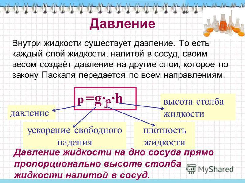 Давление Внутри жидкости существует давление. То есть каждый слой жидкости, налитой в сосуд, своим весом создаёт давление на другие слои, которое по закону Паскаля передается по всем направлениям. р =g· p ·h давление ускорение свободного падения высо