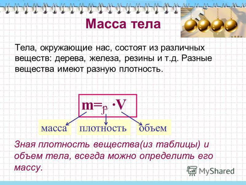 Масса тела Тела, окружающие нас, состоят из различных веществ: дерева, железа, резины и т.д. Разные вещества имеют разную плотность. m= p ·V масса плотность объем Зная плотность вещества(из таблицы) и объем тела, всегда можно определить его массу.