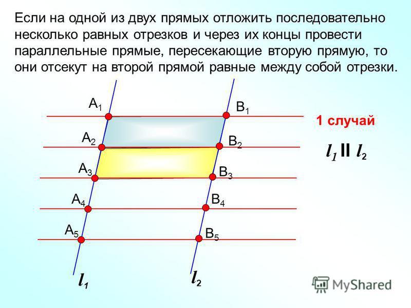 l1l1 l2l2 А1А1 А2А2 А3А3 А4А4 А5А5 В1В1 В2В2 В3В3 В4В4 В5В5 Если на одной из двух прямых отложить последовательно несколько равных отрезков и через их концы провести параллельные прямые, пересекающие вторую прямую, то они отсекут на второй прямой рав