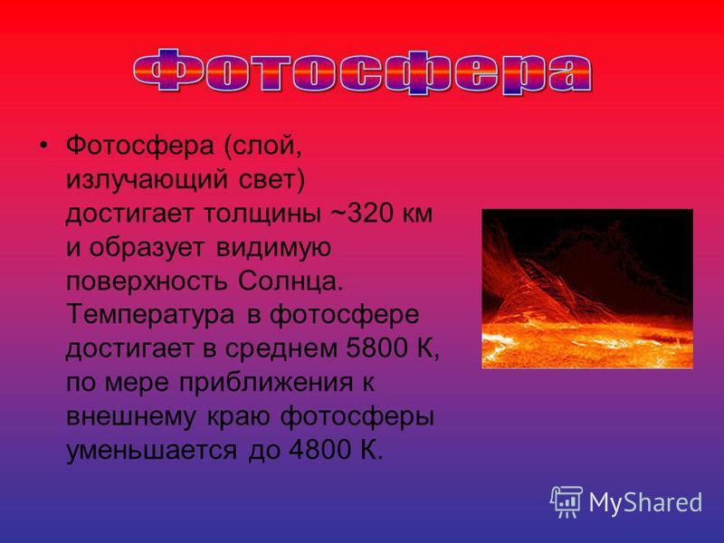 Фотосфера (слой, излучающий свет) достигает толщины ~320 км и образует видимую поверхность Солнца. Температура в фотосфере достигает в среднем 5800 К, по мере приближения к внешнему краю фотосферы уменьшается до 4800 К.