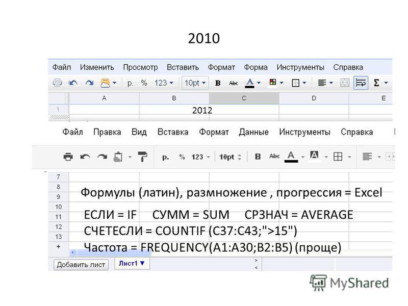 2010 Формулы (латин), размножение, прогрессия = Excel ЕСЛИ = IF СУММ = SUM СРЗНАЧ = AVERAGE СЧЕТЕСЛИ = COUNTIF (C37:C43;>15) Частота = FREQUENCY(A1:A30;B2:B5) (проще) 2012
