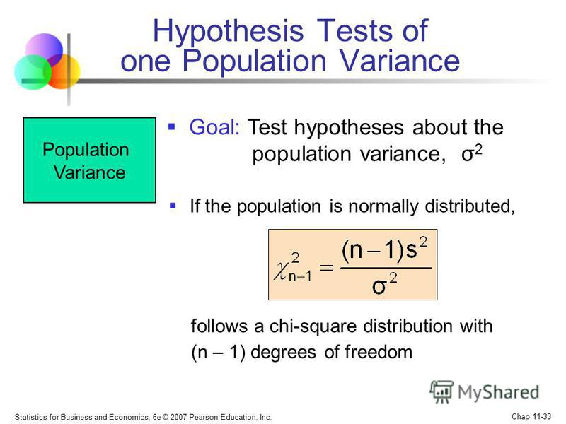 Statistics for Business and Economics, 6e © 2007 Pearson Education, Inc. Chap 11-33 Population Variance follows a chi-square distribution with (n – 1) degrees of freedom Goal: Test hypotheses about the population variance, σ 2 If the population is no