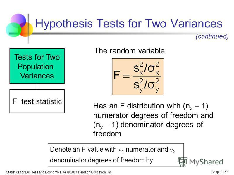 Statistics for Business and Economics, 6e © 2007 Pearson Education, Inc. Chap 11-37 Hypothesis Tests for Two Variances Tests for Two Population Variances F test statistic The random variable Has an F distribution with (n x – 1) numerator degrees of f