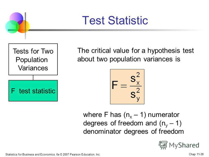 Statistics for Business and Economics, 6e © 2007 Pearson Education, Inc. Chap 11-38 Test Statistic Tests for Two Population Variances F test statistic The critical value for a hypothesis test about two population variances is where F has (n x – 1) nu