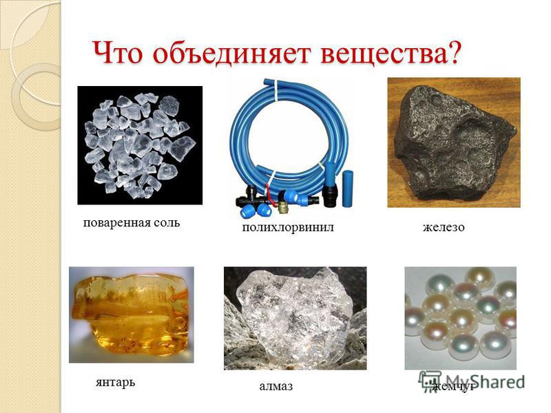 Что объединяет вещества? поваренная соль полихлорвинил железо янтарь алмаз жемчуг