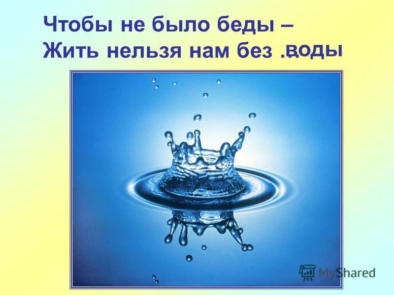 Чтобы не было беды – Жить нельзя нам без … воды