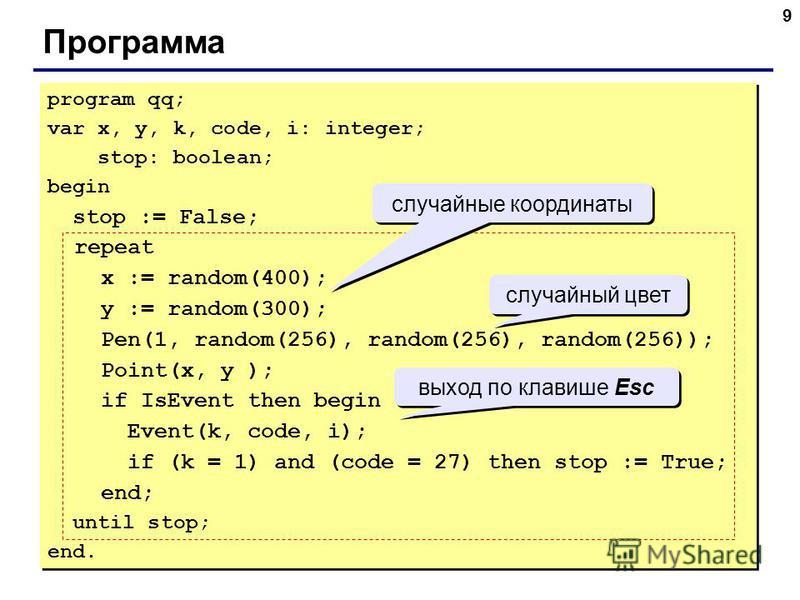 9 Программа program qq; var x, y, k, code, i: integer; stop: boolean; begin stop := False; repeat x := random(400); y := random(300); Pen(1, random(256), random(256), random(256)); Point(x, y ); if IsEvent then begin Event(k, code, i); if (k = 1) and