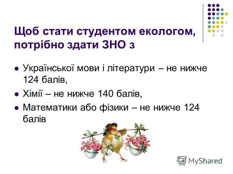 Щоб стати студентом екологом, потрібно здати ЗНО з Української мови і літератури – не нижче 124 балів, Хімії – не нижче 140 балів, Математики або фізики – не нижче 124 балів