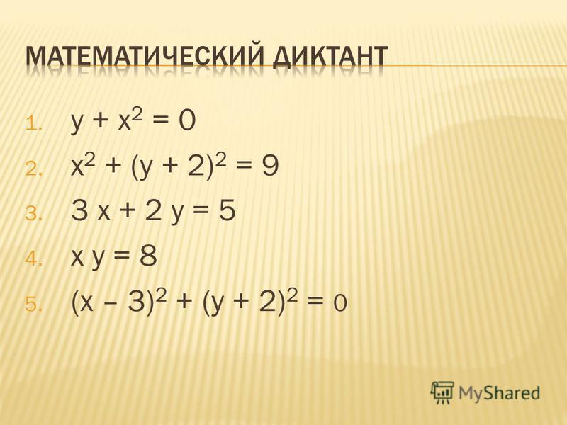 1. у + х 2 = 0 2. х 2 + (у + 2) 2 = 9 3. 3 х + 2 у = 5 4. х у = 8 5. (х – 3) 2 + (у + 2) 2 = 0