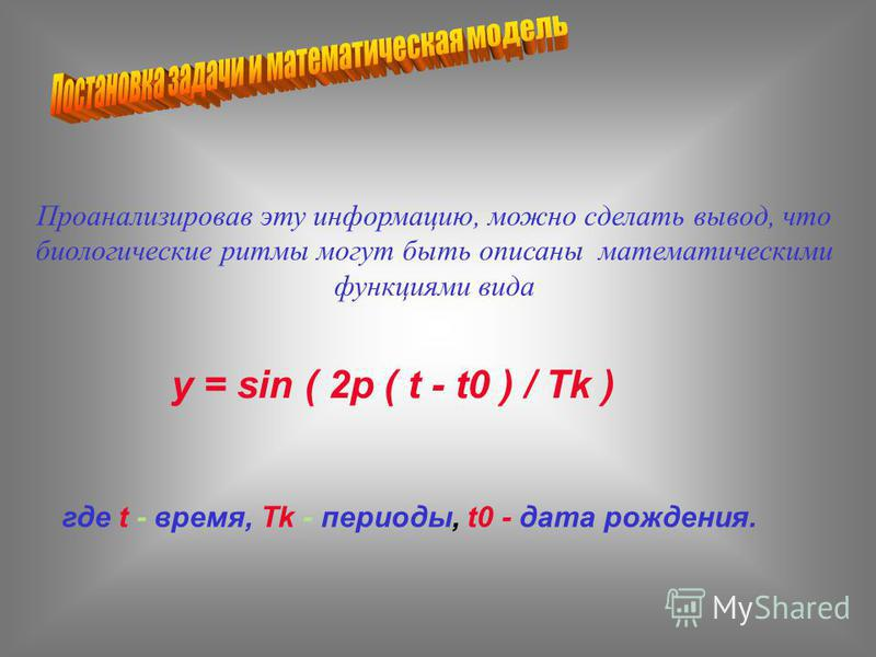 Проанализировав эту информацию, можно сделать вывод, что биологические ритмы могут быть описаны математическими функциями вида y = sin ( 2p ( t - t0 ) / Tk ) где t - время, Tk - периоды, t0 - дата рождения.