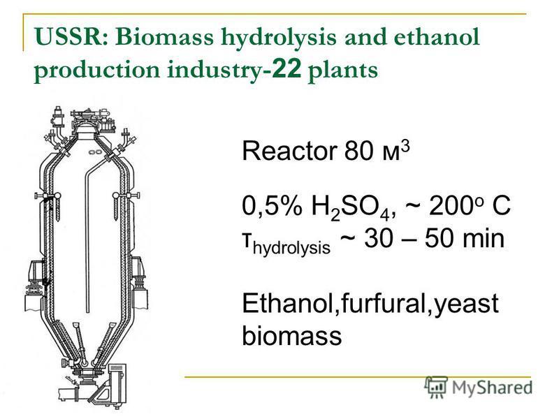 USSR: Biomass hydrolysis and ethanol production industry- 22 plants Reactor 80 м 3 0,5% H 2 SO 4, ~ 200 o C τ hydrolysis ~ 30 – 50 min Ethanol,furfural,yeast biomass