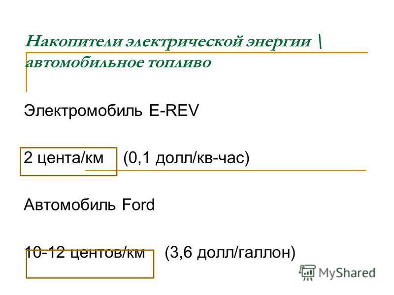 Накопители электрической энергии \ автомобильное топливо Электромобиль E-REV 2 цента/км (0,1 долл/кв-час) Автомобиль Ford 10-12 центов/км (3,6 долл/галлон)