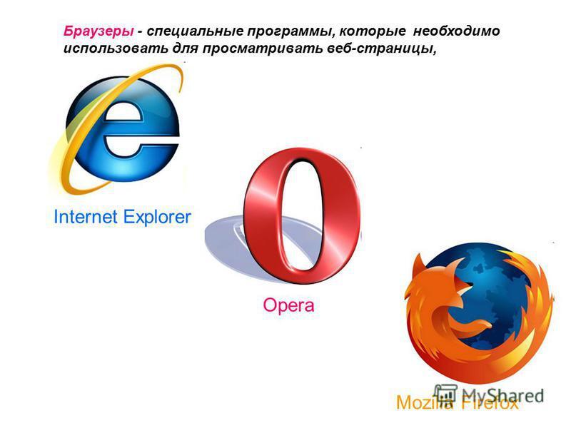 Браузеры - специальные программы, которые необходимо использовать для просматривать веб-страницы, Internet Explorer Mozilla Firefox Opera